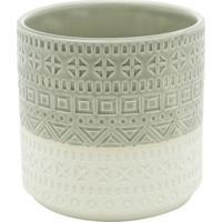 Vaso Double Colors Aztec- Branco & Verde-14Xã˜14Cm