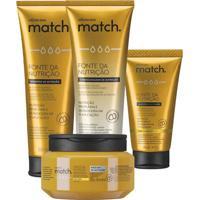 Combo Match Fonte Da Nutrição Fios Finos: Shampoo + Condicionador + Máscara Capilar + Creme Para Pentear