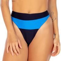 Calcinha Hot Pant Com Recorte- Preta & Azul- Fleeuse Flee