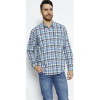 Camisa Xadrez Com Linho- Azul & Brancalevis
