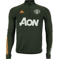 Camisa De Treino Manga Longa Manchester United 20/21 Adidas - Masculina - Verde Escuro
