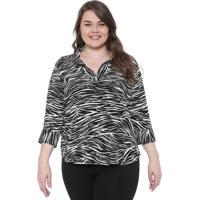 Blusa Gris Plus Zebra Preta