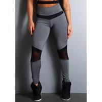 Legging Fitness Supplex Cós Alto Tule Cinza