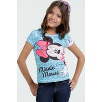 Blusa Infantil Estampa Minnie Manga Curta Disney