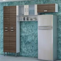 Cozinha Compacta Quartz 7 Portas Branco Com Dubai E Rovere Kit'S Paraná