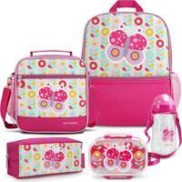 Conjunto Mochila, Pote E Squeeze Infantil Pequeninos Jacki Design Rosa - Kanui