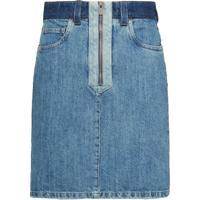Miu Miu Saia Jeans Com Patch - Azul