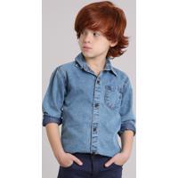 Camisa Infantil Jeans Manga Longa Com Bolso Azul Claro