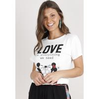 "Blusa Feminina Mickey E Minnie ""Love"" Manga Curta Decote Redondo Off White"