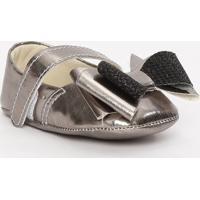 Sapato Boneca Metalizado Com Laã§O- Prateado & Preto-Tico Baby