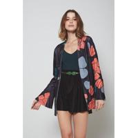 Kimono Oh, Boy! Veludo Est Floral Black - Feminino-Preto