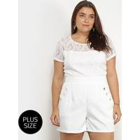 Macacão Lemise Renda Plus Size Feminino - Feminino-Branco