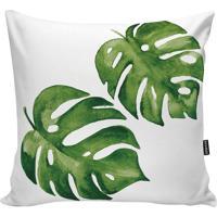 Capa Para Almofada Foliage- Verde & Branca- 45X45Cm