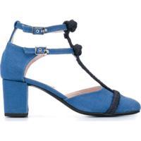 Leandra Medine Sapato Com Fechamento Duplo - Azul