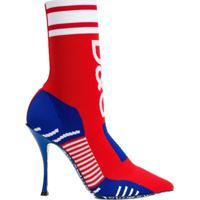 Dolce & Gabbana Bota Meia Com Logo - Vermelho