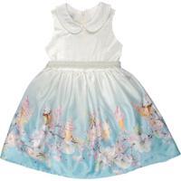 Vestido Infantil Chic Barrado Floral Azul - Anjos Baby Chic