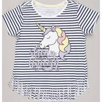 Blusa Infantil Listrada Unicórnio Com Franjas Manga Curta Off White
