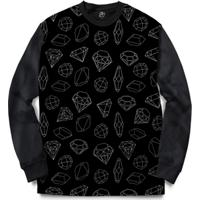 Blusa Bsc Full Diamond Full Print - Masculino-Preto
