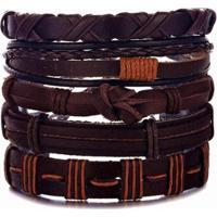 Bracelete Artestore 5 Em 1 Pulseira Em Couro - Unissex-Marrom