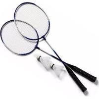 Kit 2 Raquetes Badminton+Petecas E Bolsa - Unissex