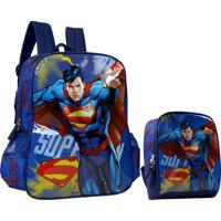 Kit Superman Mochila E Lancheira Kit31681Sm Azul