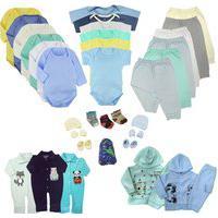 Kit Roupinhas De Bebê 35 Peças Enxoval Completo Quentinho Azul