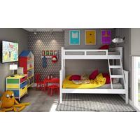 Quarto Juvenil Completo Com Beliche, Estantes Livreiro, Cabideiro, Mesa E 2 Cadeiras Vermelho/Branco/Amarelo/Azul - Caaza