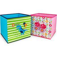 Kit 2 Caixa Organizadora De Brinquedos E Roupas Infantil Jacki Design Dobrável Azul E Rosa - Kanui