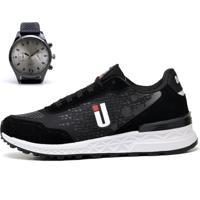 Kit Tênis Ousy Shoes Running Preto Lançamento + Relógio