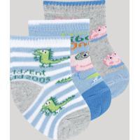 Kit De 3 Meias Infantis George Pig Cano Médio Multicor
