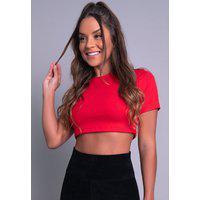 Cropped Blusa Mvb Modas Ribana Feminina Verão Vermelho