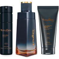 Combo Malbec Flame: Desodorante Colônia 100Ml + Loção Desodorante Hidratante 200Ml + Body Spray 100Ml