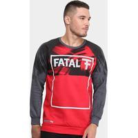 Blusa Moletom Fatal U Rag Logo Masculina - Masculino-Vermelho