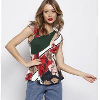 Blusa Com Vazado- Verde & Vermelha- Forumforum