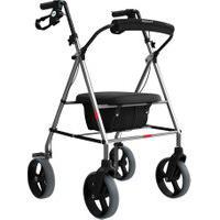Andador De Alumínio Com Rodas, Assento E Cesta Mercur Dobrável Tamanho Único