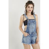 Jardineira Jeans Feminina Com Barra Desfiada Azul Escuro