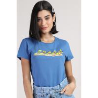Blusa Feminina Os Simpsons Manga Curta Decote Redondo Azul
