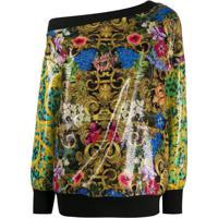 Versace Jeans Couture Blusa Ombro Único Com Paetês - Preto