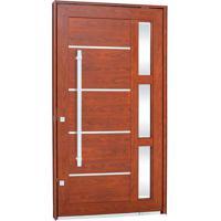 Porta Pivotante Lambris Horizontais Com Friso, Vidro E Puxador Alumínio Madeira 243,5X146,2X12Cm Esquerda Aluminium - 72460120 - Sasazaki - Sasazaki