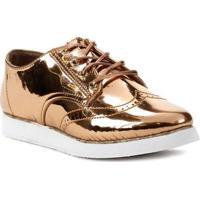 Sapato Oxford Feminino Metálico Cobre
