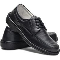 Sapato Cla-Clê Anti Stress Cadarço Couro Masculino - Masculino-Preto