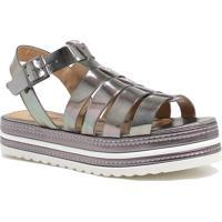Sandália Plataforma Zariff Shoes Verniz Prata
