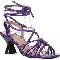 Sandália Couro Shoestock Salto Flare Tiras Amarração Metalizada Feminina - Feminino-Roxo