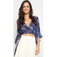 Blusa Cropped Com Transpasse - Azul Marinho & Lilã¡S Sommer