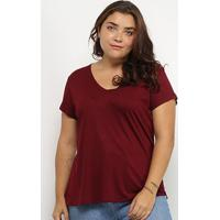 Blusa Lecimar Básica Plus Size Feminina - Feminino-Vinho