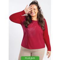 Blusa Manga Longa Estampada Vermelho
