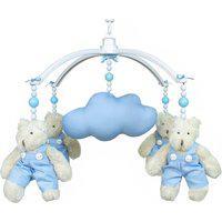 Móbile Musical Ursinho Azul E Nuvem Quarto Bebê Infantil Menino Potinho De Mel