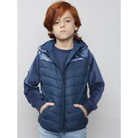 Colete Infantil Puffer Estampado Camuflado Com Gorro Azul Marinho