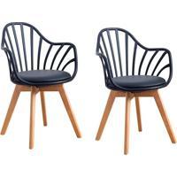 Conjunto Com 2 Cadeiras Laris Tulipa Com Braços Base Madeira Preto