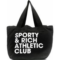 Sporty & Rich Bolsa Tote Com Estampa De Logo - Preto